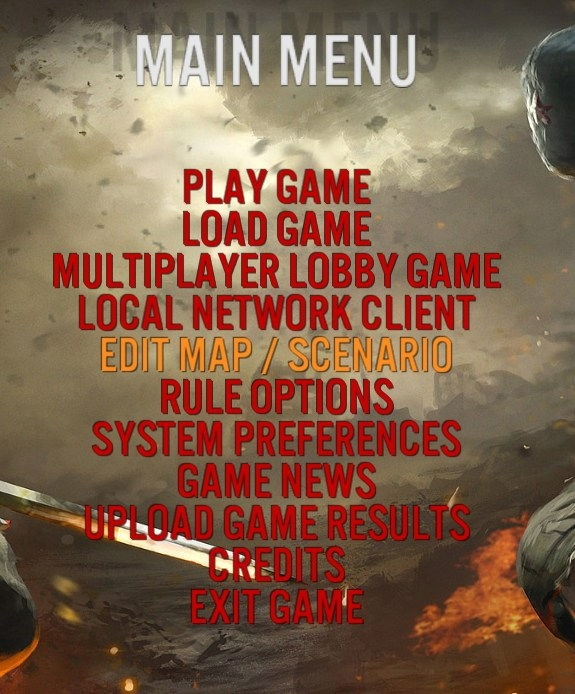 The game editor screen.